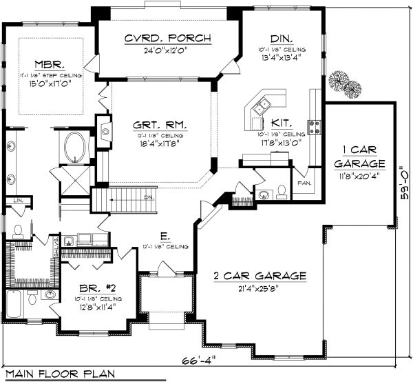 Dream House Plan - Ranch Floor Plan - Main Floor Plan #70-1117