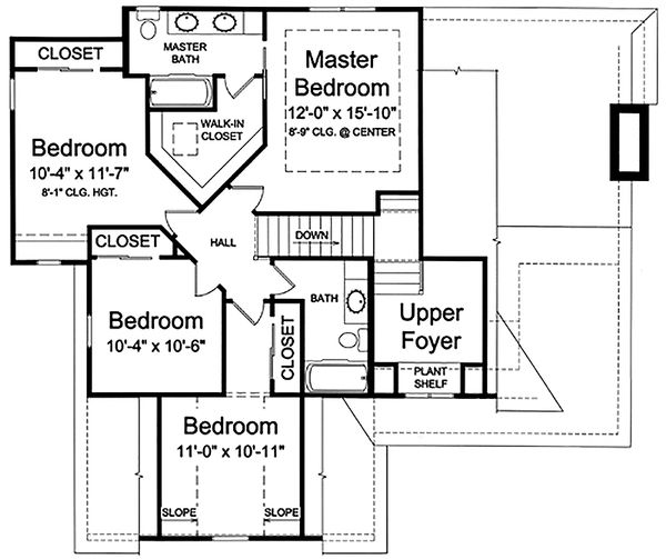 Craftsman Floor Plan - Upper Floor Plan Plan #46-470