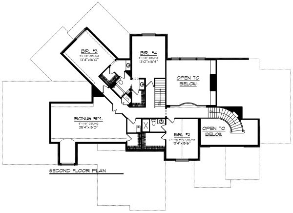 Traditional Floor Plan - Upper Floor Plan Plan #70-1296