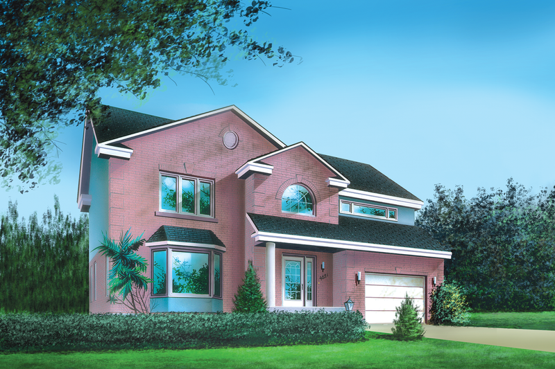 Traditional Style House Plan - 4 Beds 2.5 Baths 2727 Sq/Ft Plan #25-2110 Exterior - Front Elevation