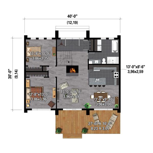 House Plan Design - Cottage Floor Plan - Main Floor Plan #25-4927