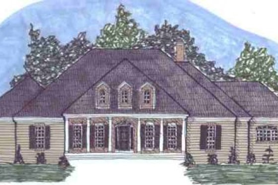 Southern Exterior - Front Elevation Plan #69-131