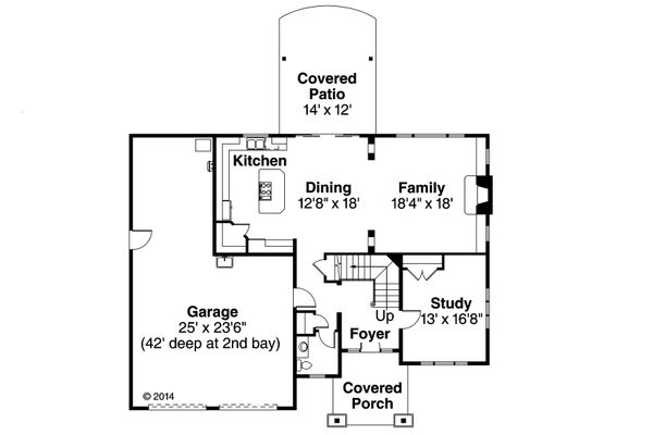 Craftsman Floor Plan - Main Floor Plan Plan #124-940