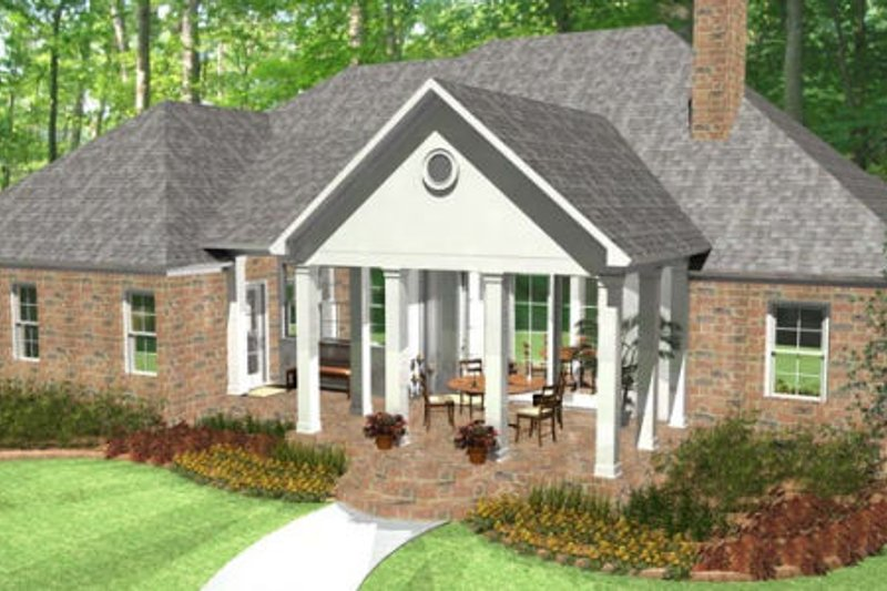 Colonial Exterior - Rear Elevation Plan #406-9616 - Houseplans.com