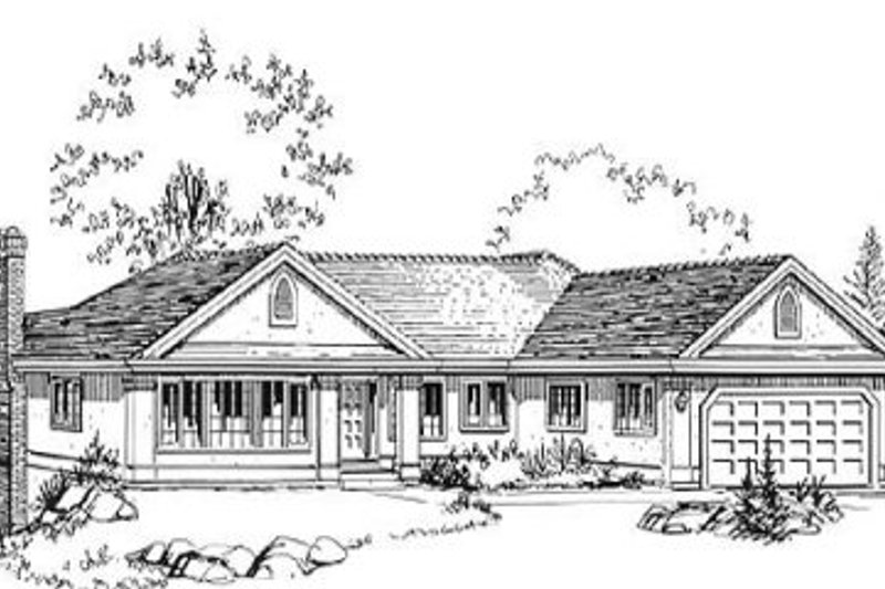 Ranch Style House Plan - 3 Beds 2 Baths 1927 Sq/Ft Plan #18-9026 Exterior - Front Elevation
