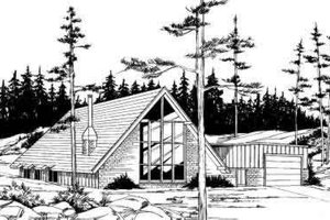 Cabin Exterior - Front Elevation Plan #312-557