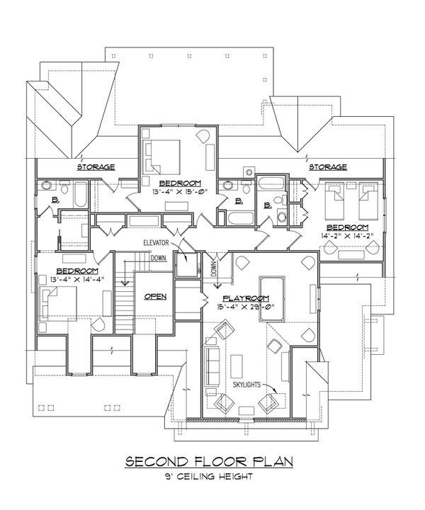 Craftsman Floor Plan - Upper Floor Plan Plan #1054-38