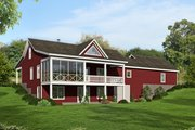 Country Style House Plan - 2 Beds 2 Baths 1650 Sq/Ft Plan #932-36 Exterior - Rear Elevation