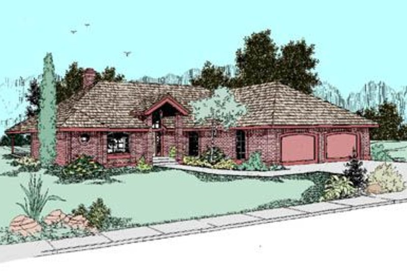 Traditional Style House Plan - 3 Beds 2 Baths 1459 Sq/Ft Plan #60-247 Exterior - Front Elevation