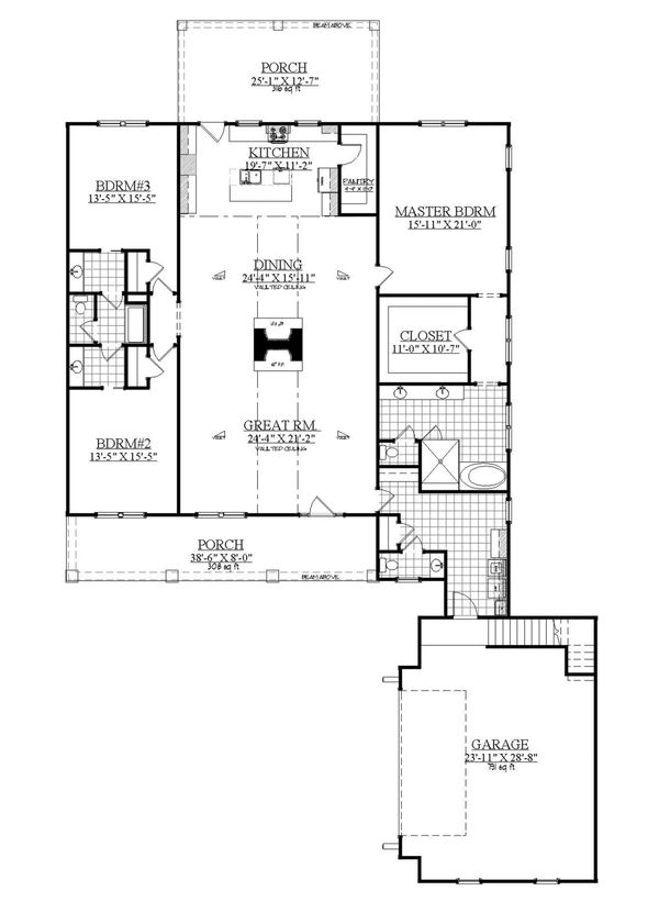 Farmhouse Floor Plan - Main Floor Plan Plan #1071-9