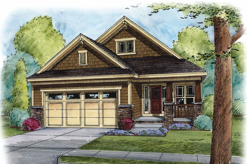 Architectural House Design - Craftsman Exterior - Front Elevation Plan #20-2259