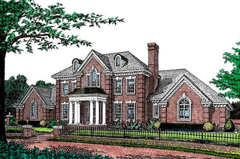 Colonial Style House Plan - 5 Beds 3.5 Baths 4045 Sq/Ft Plan #310-952 Exterior - Front Elevation