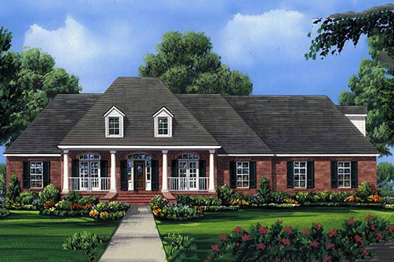 European Style House Plan - 4 Beds 3.5 Baths 2755 Sq/Ft Plan #21-202 Exterior - Front Elevation