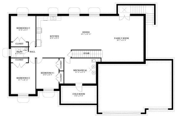 House Plan Design - Traditional Floor Plan - Lower Floor Plan #1060-67