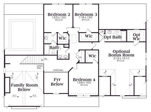 Traditional Floor Plan - Upper Floor Plan Plan #419-138