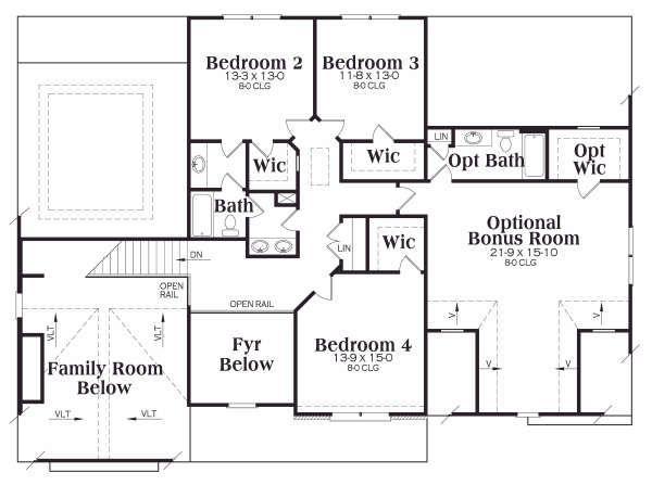 Traditional Floor Plan - Upper Floor Plan Plan #419-138