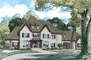 European Style House Plan - 4 Beds 4.5 Baths 6674 Sq/Ft Plan #17-2461 Exterior - Front Elevation