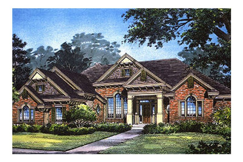 Traditional Style House Plan - 5 Beds 5 Baths 3723 Sq/Ft Plan #417-404 Exterior - Front Elevation