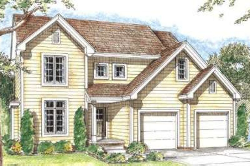 Traditional Style House Plan - 3 Beds 3 Baths 1641 Sq/Ft Plan #20-1728 Exterior - Front Elevation