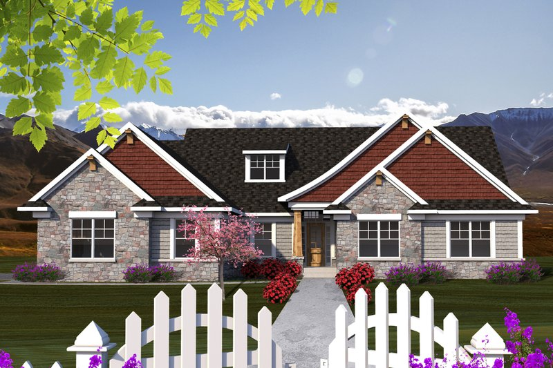 Architectural House Design - Ranch Exterior - Front Elevation Plan #70-1168