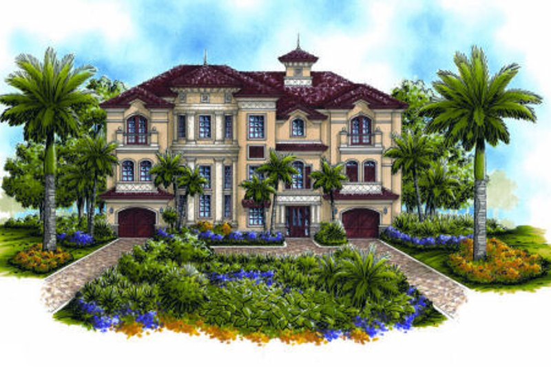 Mediterranean Style House Plan - 5 Beds 4.5 Baths 6162 Sq/Ft Plan #27-397 Exterior - Front Elevation