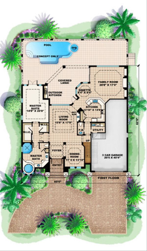 Mediterranean Floor Plan - Main Floor Plan Plan #27-376
