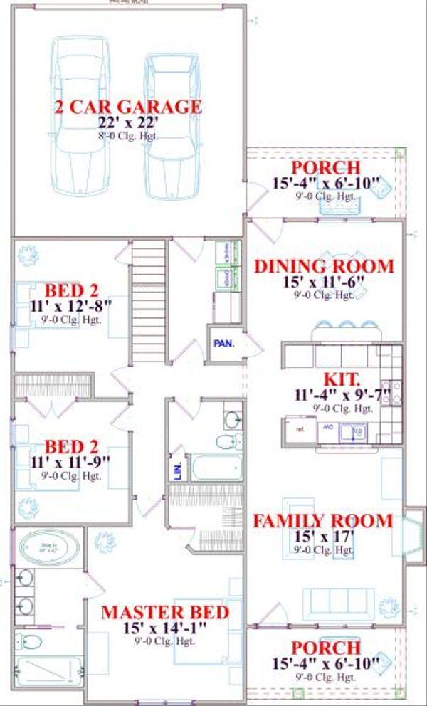 Farmhouse Floor Plan - Main Floor Plan Plan #63-136