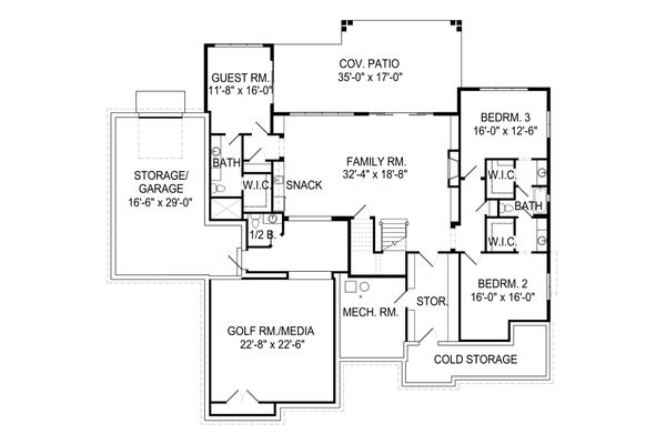 Craftsman Floor Plan - Lower Floor Plan Plan #920-109