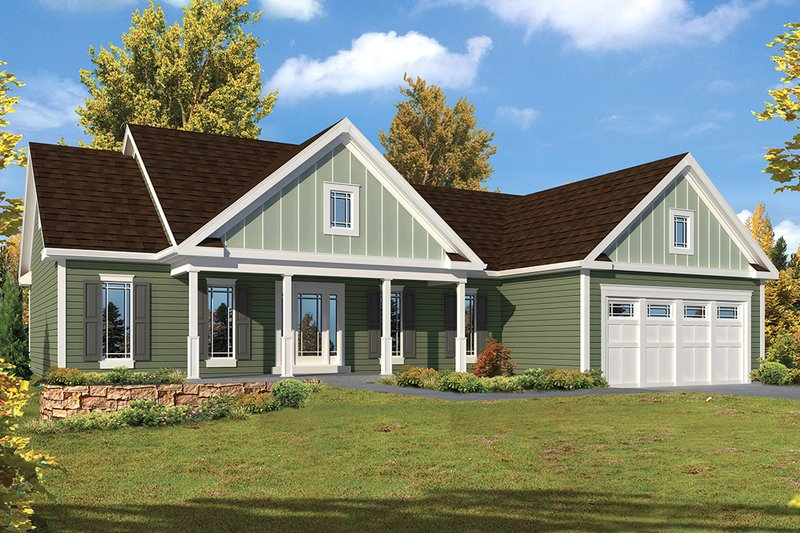 House Plan Design - Ranch Exterior - Front Elevation Plan #57-639