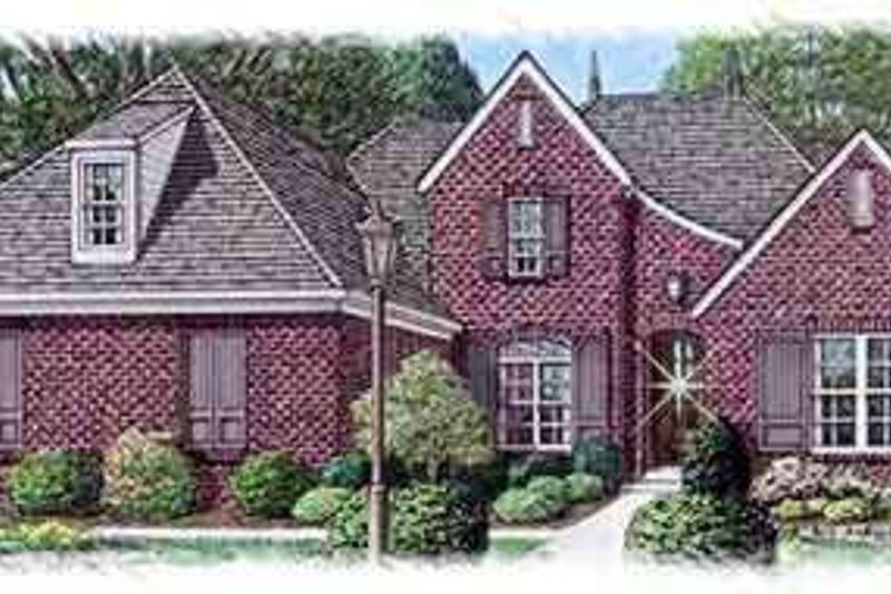European Style House Plan - 4 Beds 3 Baths 3388 Sq/Ft Plan #15-267 Exterior - Front Elevation