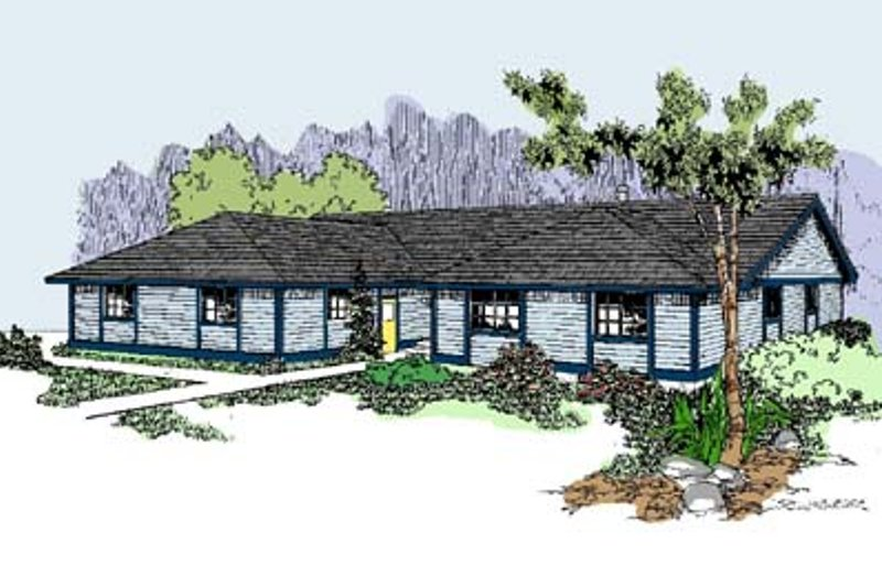 Ranch Exterior - Front Elevation Plan #60-518 - Houseplans.com