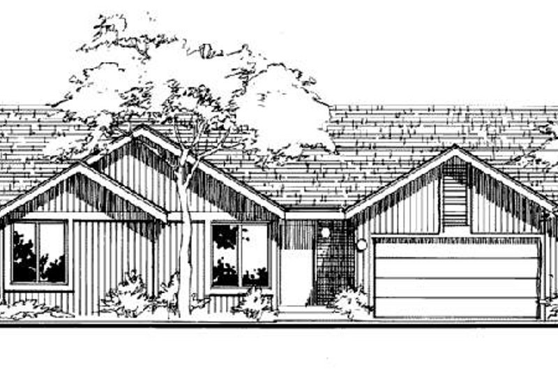 Ranch Style House Plan - 2 Beds 2 Baths 1400 Sq/Ft Plan #320-328 Exterior - Front Elevation