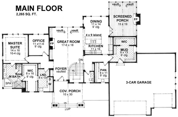 Craftsman Floor Plan - Main Floor Plan Plan #51-575