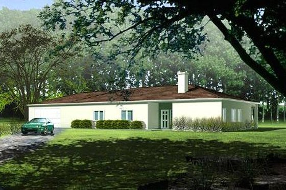 Ranch Exterior - Front Elevation Plan #1-350