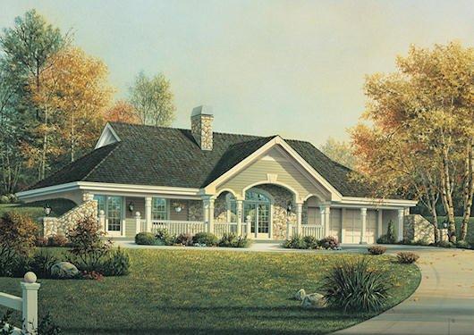 Farmhouse Exterior - Front Elevation Plan #57-366 - Houseplans.com