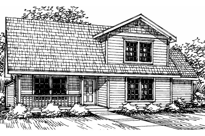 Farmhouse Style House Plan - 3 Beds 2 Baths 1343 Sq/Ft Plan #124-308 Exterior - Front Elevation
