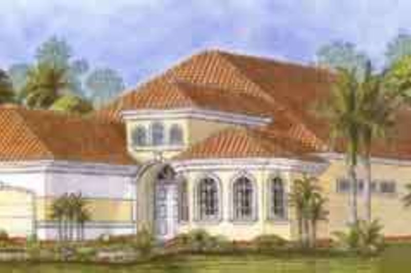 Mediterranean Style House Plan - 3 Beds 3.5 Baths 2919 Sq/Ft Plan #27-288 Exterior - Front Elevation