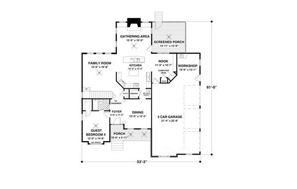 Craftsman Floor Plan - Main Floor Plan Plan #56-642