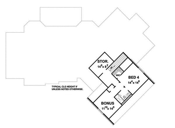 European Floor Plan - Upper Floor Plan Plan #20-2286