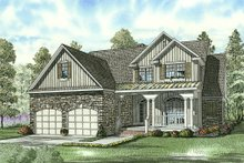 Traditional design with Craftsman details elevation rendering