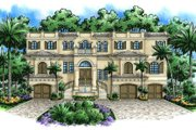Mediterranean Style House Plan - 3 Beds 5 Baths 5566 Sq/Ft Plan #27-396 Exterior - Front Elevation