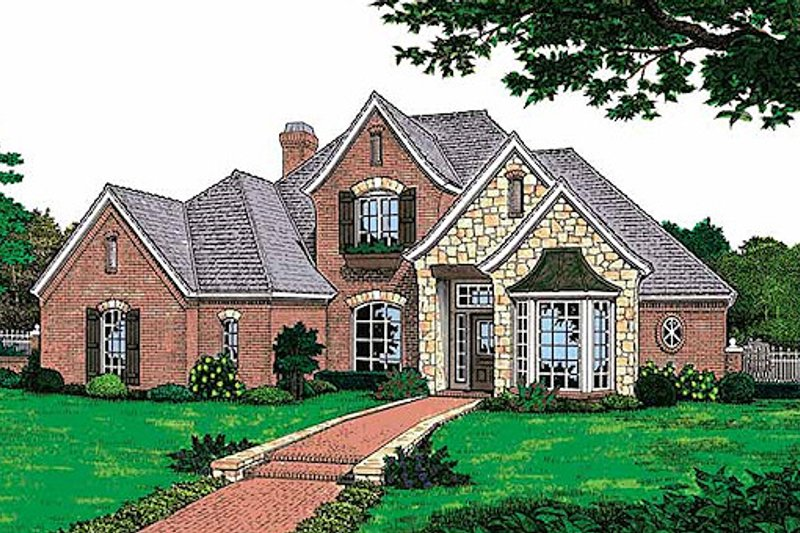 European Style House Plan - 4 Beds 3.5 Baths 2699 Sq/Ft Plan #310-859 Exterior - Front Elevation