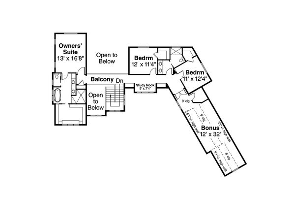 Traditional Floor Plan - Upper Floor Plan Plan #124-1033