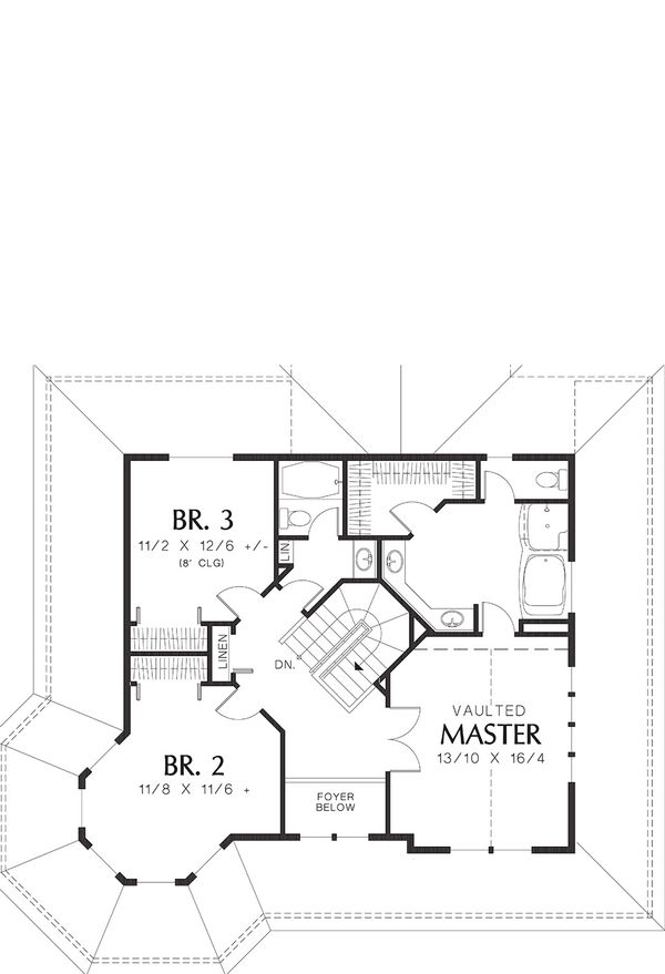 Upper Level Floor Plan - 2400 square foot Country Home