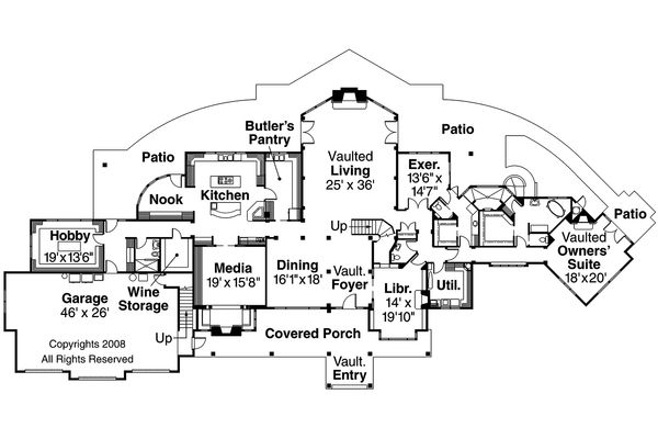 Craftsman Floor Plan - Main Floor Plan Plan #124-691