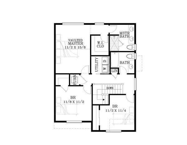 Craftsman Floor Plan - Upper Floor Plan Plan #53-560