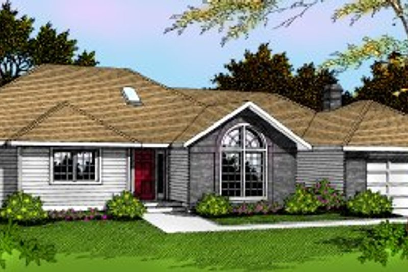 Traditional Style House Plan - 3 Beds 2 Baths 2159 Sq/Ft Plan #91-101 Exterior - Front Elevation