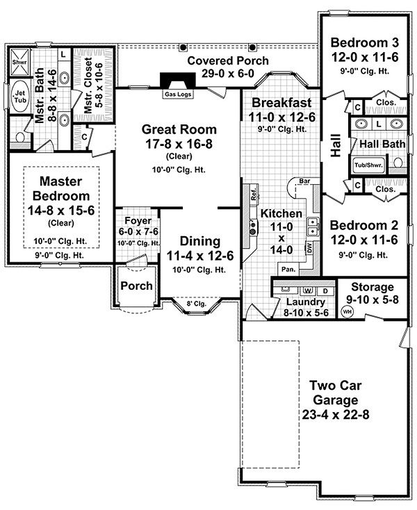 European Floor Plan - Main Floor Plan Plan #21-237