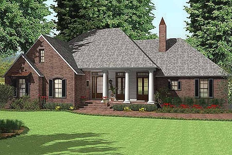 Southern Exterior - Front Elevation Plan #406-143 - Houseplans.com