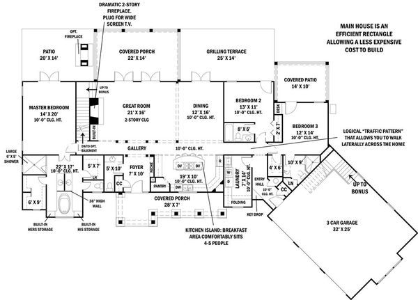 Craftsman Floor Plan - Main Floor Plan Plan #119-367